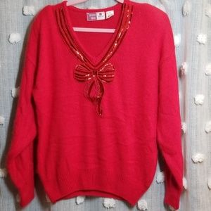 Vintage 80's Bow Gem Sweater size M